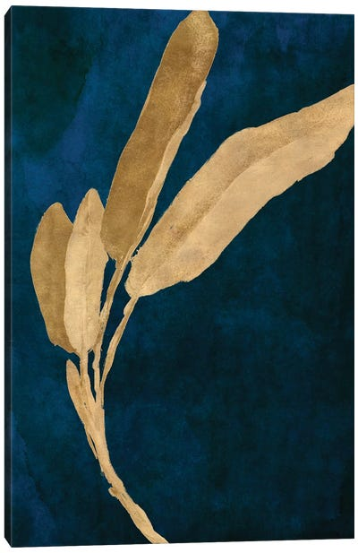 Gold Leaves on Navy III Canvas Art Print