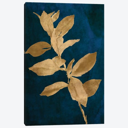 Gold Leaves on Navy IV Canvas Print #LNL449} by Lanie Loreth Canvas Art Print