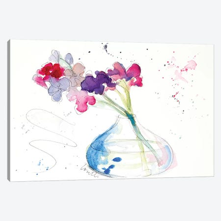 Colorful Flowers in Clear Vase Canvas Print #LNL44} by Lanie Loreth Canvas Artwork