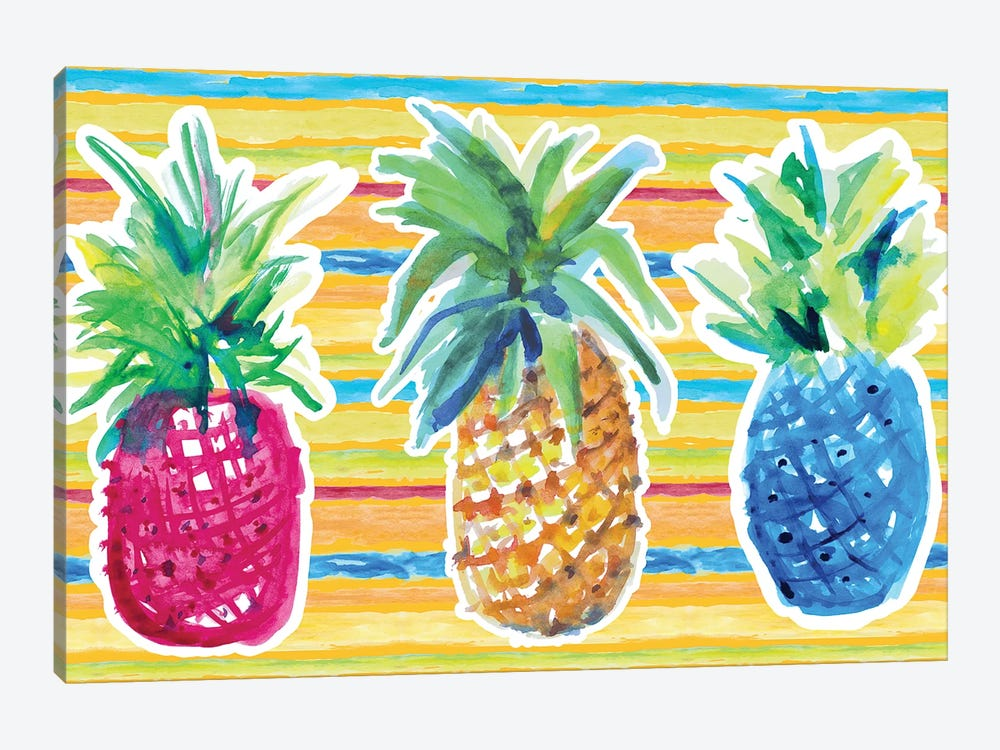 Vibrant Pineapple Trio by Lanie Loreth 1-piece Canvas Artwork