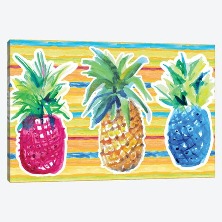 Vibrant Pineapple Trio Canvas Print #LNL478} by Lanie Loreth Canvas Wall Art