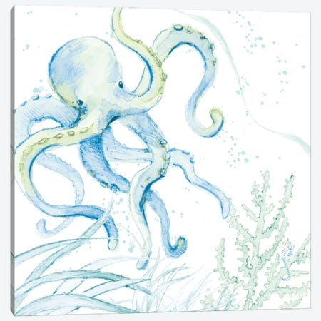 Blue Octopus Canvas Print #LNL483} by Lanie Loreth Canvas Print