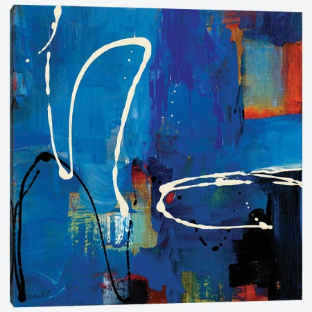 Blue Retro Canvas Print #LNL484} by Lanie Loreth Canvas Artwork