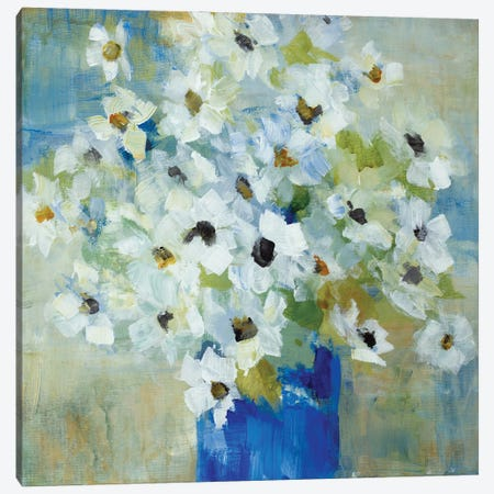 Pop of White Flowers in Blue Vase Canvas Print #LNL515} by Lanie Loreth Canvas Art