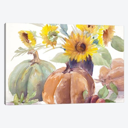 Tawny Sunflowers and Pumpkins Canvas Print #LNL525} by Lanie Loreth Canvas Print