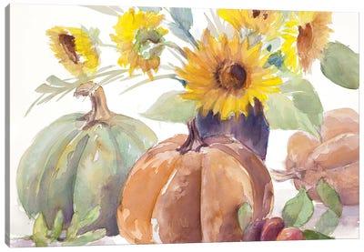 Tawny Sunflowers and Pumpkins Canvas Art Print