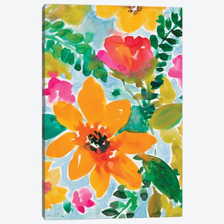 Bright and Cheery Blooms Canvas Print #LNL540} by Lanie Loreth Canvas Wall Art