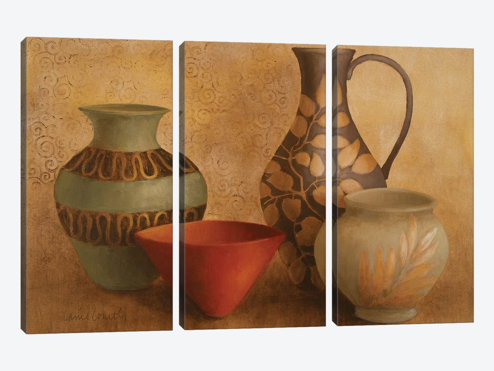 Decorative Vessel Still Life I 3-piece Canvas Print