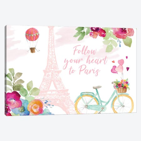 Follow Your Heart to Paris Canvas Print #LNL545} by Lanie Loreth Art Print