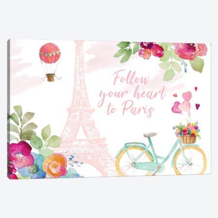 Follow Your Heart to Paris Canvas Print #LNL545} by Lanie Loreth Art Print