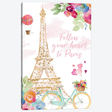 Paris Bike Ride Canvas Print #LNL563} by Lanie Loreth Canvas Artwork