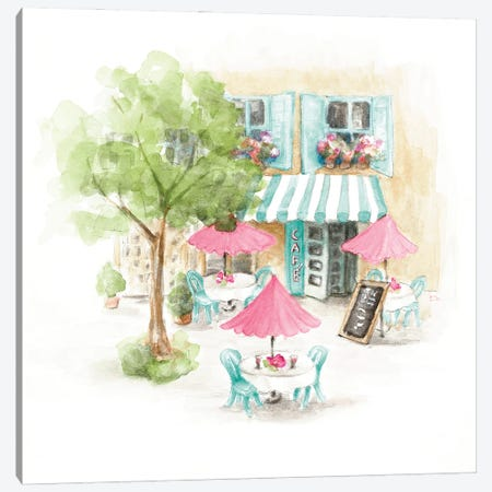 Paris Cafe Canvas Print #LNL564} by Lanie Loreth Art Print