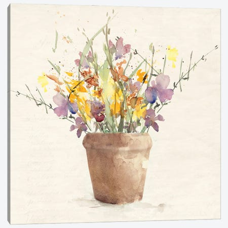 Potted Wildflowers I Canvas Print #LNL569} by Lanie Loreth Canvas Art