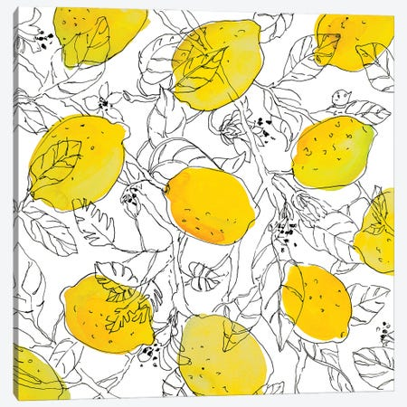 Lemons With Outlined Leaves Canvas Print #LNL643} by Lanie Loreth Canvas Print