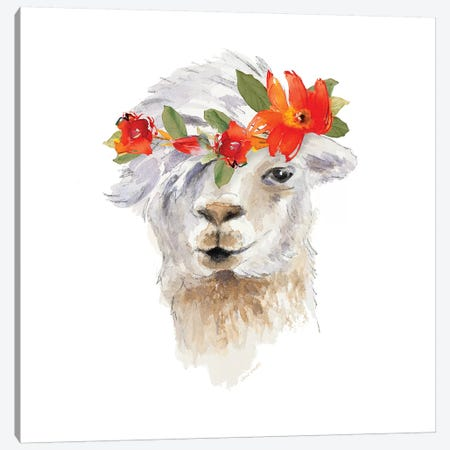 Floral Llama II Canvas Print #LNL67} by Lanie Loreth Canvas Art