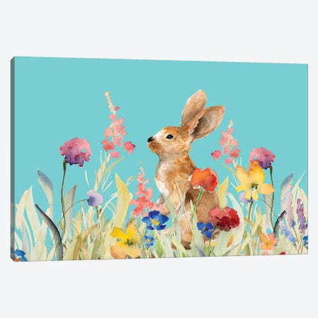 Amongst the Flowers on Teal I Canvas Print #LNL6} by Lanie Loreth Canvas Wall Art