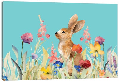 Amongst the Flowers on Teal I Canvas Art Print