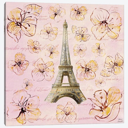 Golden Paris on Floral I Canvas Print #LNL84} by Lanie Loreth Canvas Art
