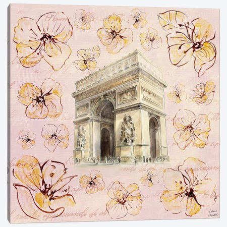 Golden Paris On Floral II Canvas Print #LNL85} by Lanie Loreth Canvas Art