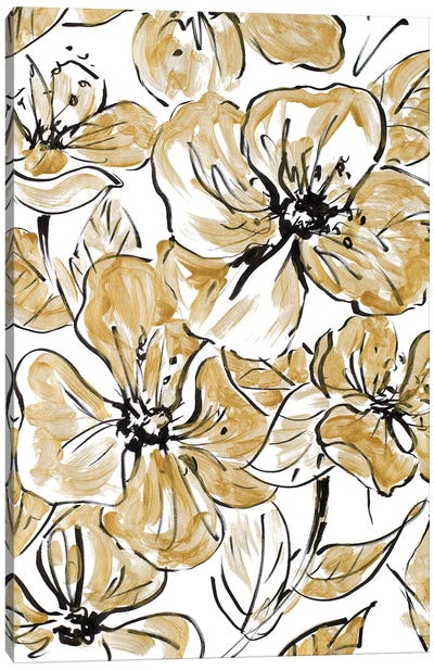 Golden Sketch Floral I Canvas Art Print