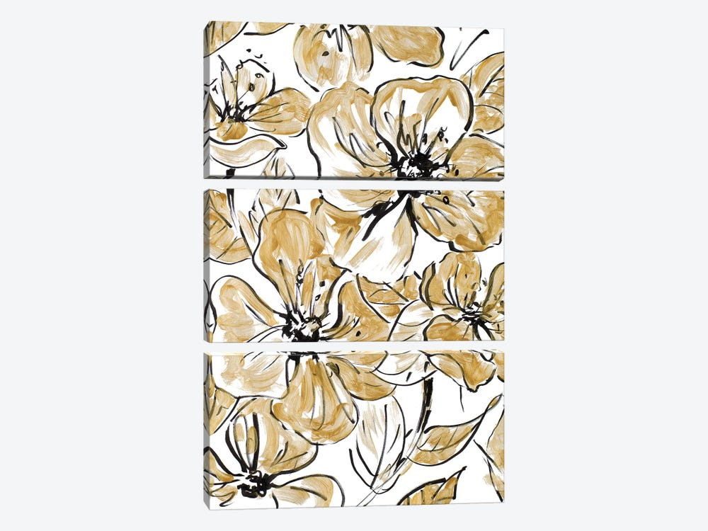 Golden Sketch Floral I by Lanie Loreth 3-piece Art Print
