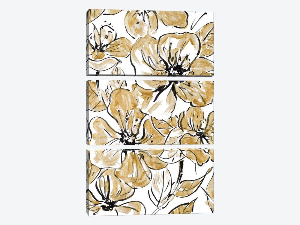 Golden Sketch Floral I by Lanie Loreth 3-piece Art Print