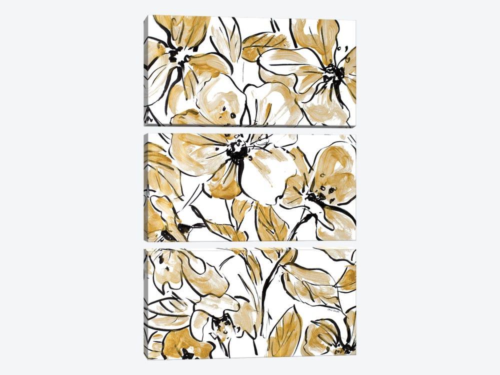 Golden Sketch Floral II by Lanie Loreth 3-piece Canvas Wall Art