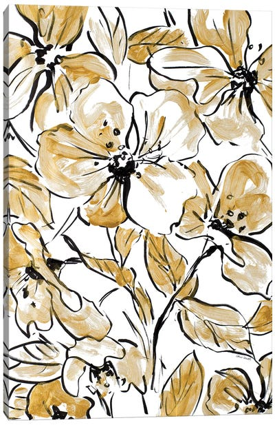 Golden Sketch Floral II Canvas Art Print