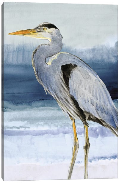 Heron on Blue I Canvas Art Print