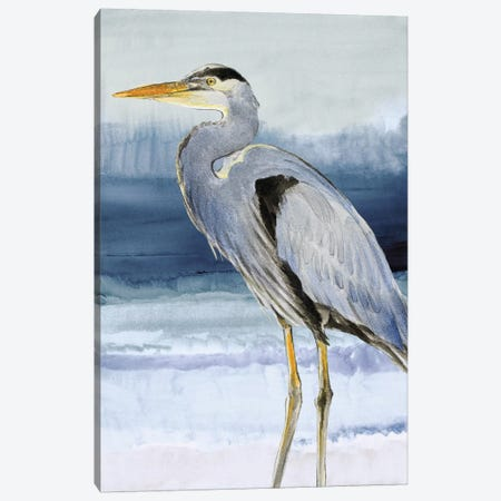Heron on Blue I Canvas Print #LNL92} by Lanie Loreth Canvas Artwork