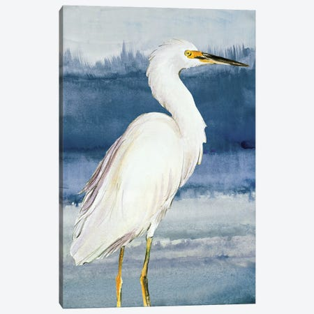 Heron on Blue II Canvas Print #LNL93} by Lanie Loreth Canvas Artwork