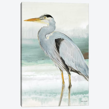 Heron on Seaglass  I Canvas Print #LNL94} by Lanie Loreth Art Print