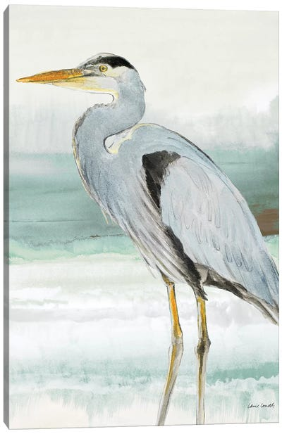 Heron on Seaglass  I Canvas Art Print
