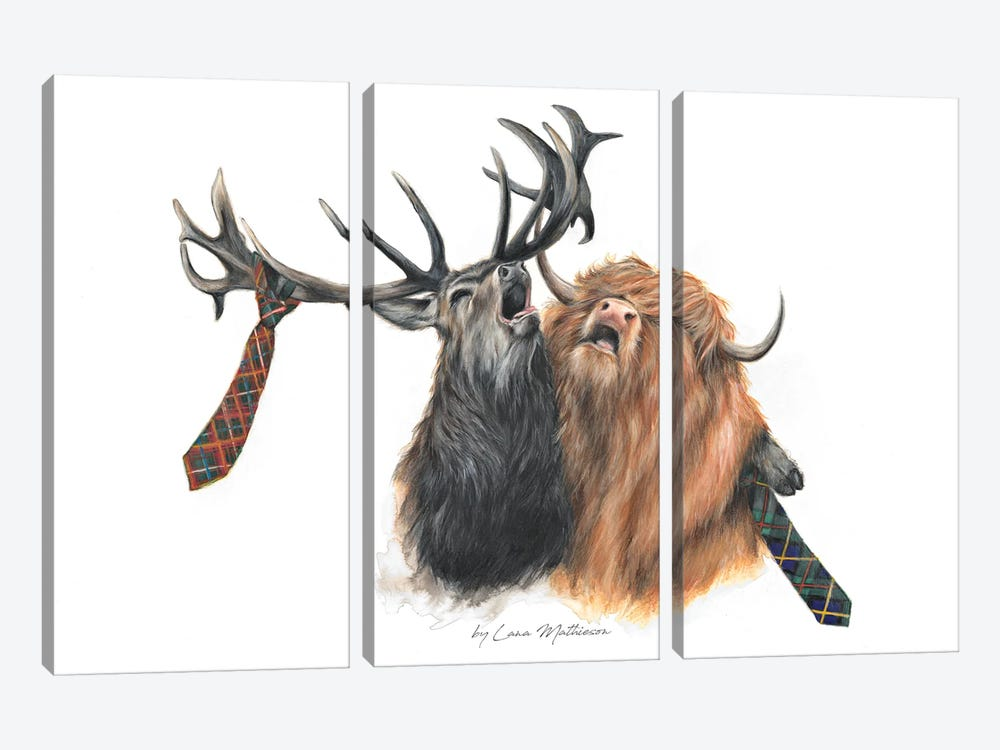 Stag Night by Lana Mathieson 3-piece Canvas Artwork