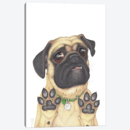 Physical Distancing Pug Canvas Print #LNP31} by Lenny Pelling Canvas Wall Art