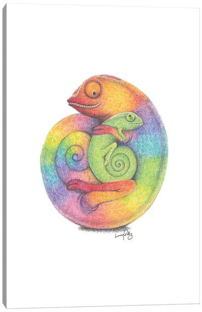 Chameleon Cuddles Canvas Art Print