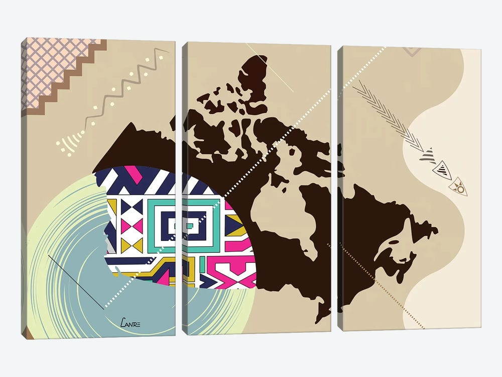 Canada Stylized by Lanre Studio 3-piece Canvas Wall Art