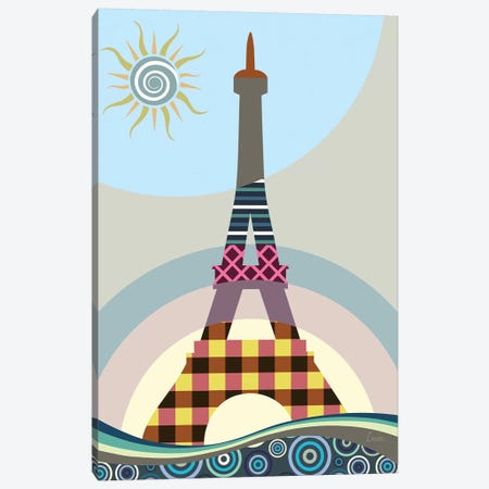 Eiffel Tower 3-Piece Canvas #LNR117} by Lanre Studio Canvas Art