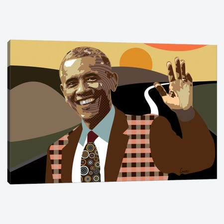 Barack Obama Canvas Print #LNR11} by Lanre Studio Canvas Artwork