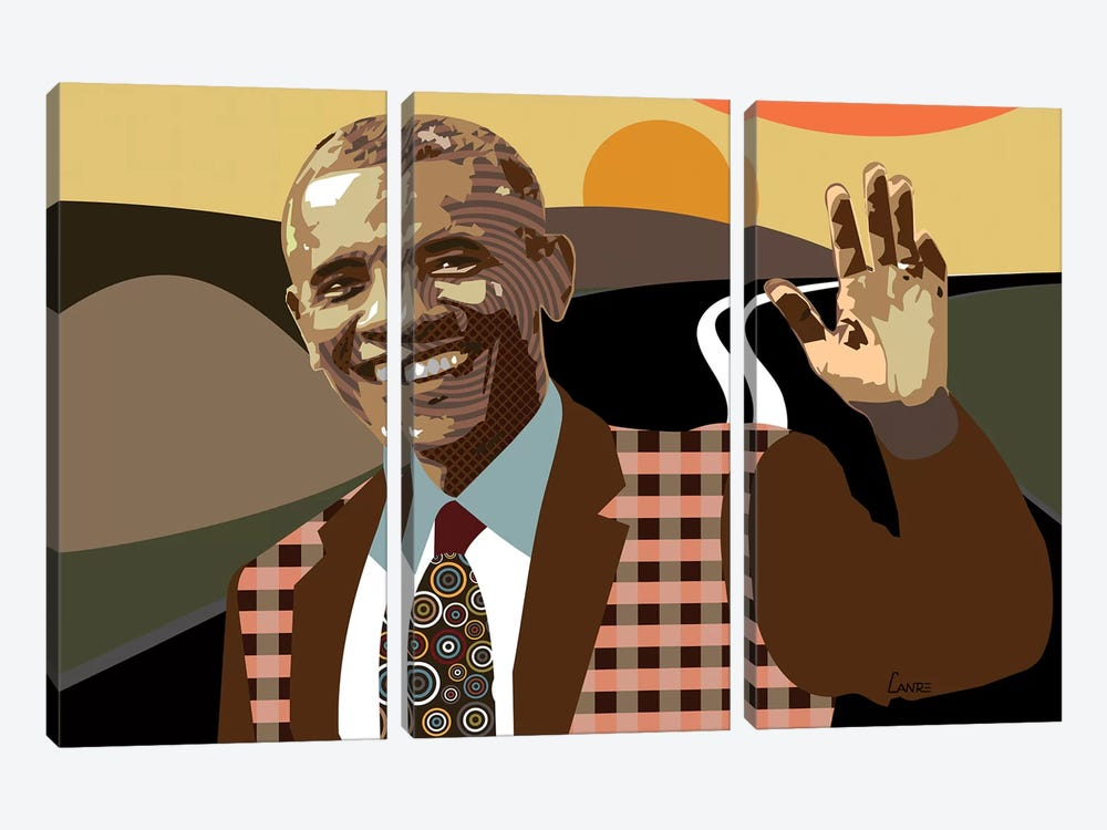 Barack Obama by Lanre Studio 3-piece Canvas Art Print