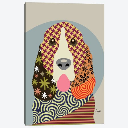 Basset Hound Canvas Print #LNR12} by Lanre Studio Canvas Artwork