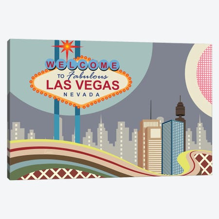 Las Vegas Strip Canvas Print #LNR137} by Lanre Studio Canvas Wall Art