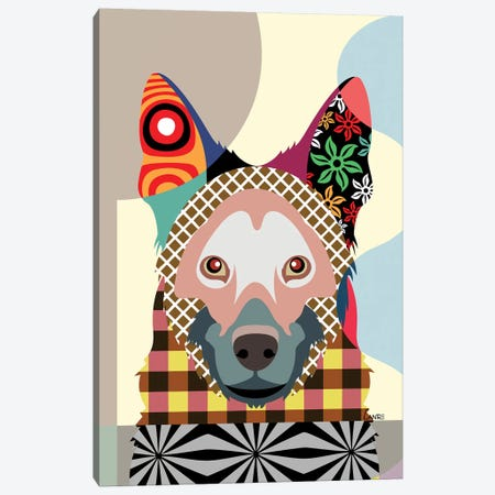 German Shepherd Canvas Print #LNR38} by Lanre Studio Canvas Artwork