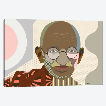 Mahatma Gandhi 3-Piece Canvas #LNR60} by Lanre Studio Canvas Print