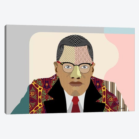Malcolm X Canvas Print #LNR61} by Lanre Studio Canvas Print