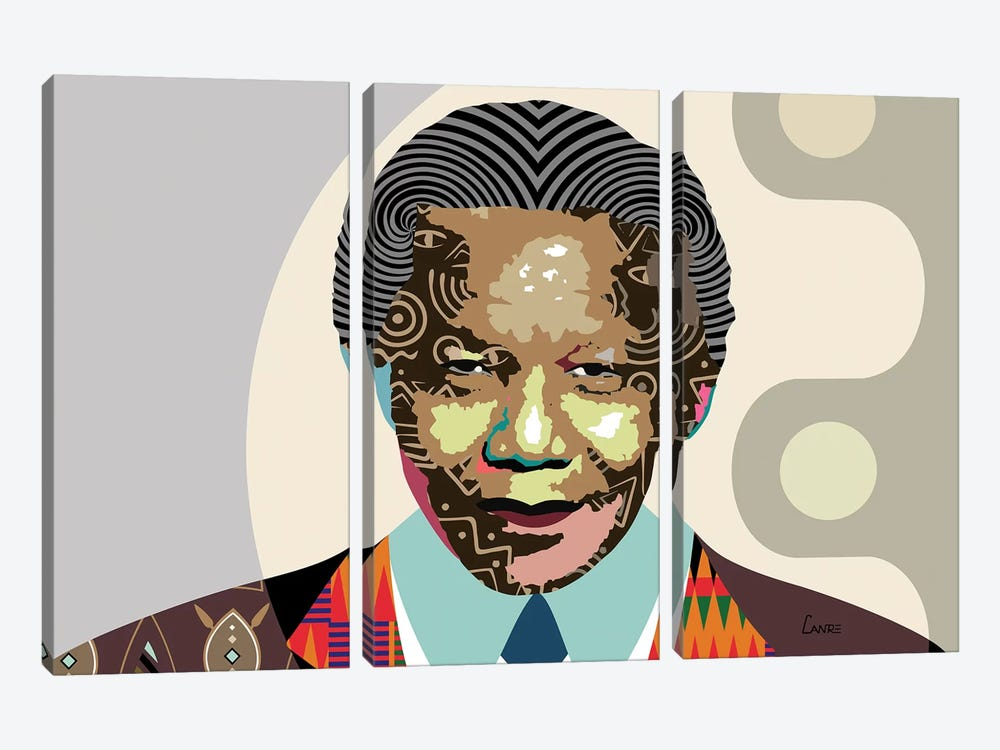Nelson Mandela by Lanre Studio 3-piece Canvas Print