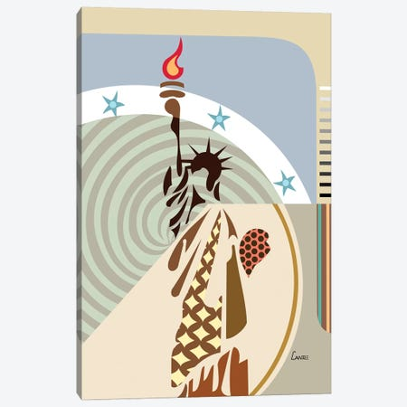 Statue of Liberty Canvas Print #LNR87} by Lanre Studio Canvas Art