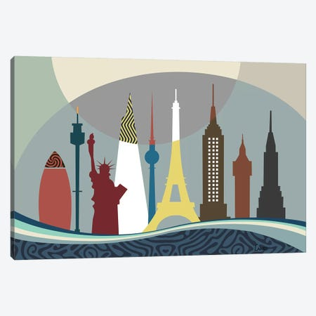 World Travel Landmarks Canvas Print #LNR99} by Lanre Studio Canvas Art