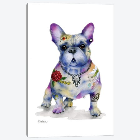 Tattoo Frenchie Canvas Print #LNT20} by Patricia Lintner Art Print