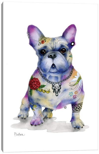 Tattoo Frenchie Canvas Art Print